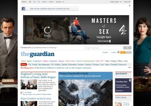 Guardian homepage with ads