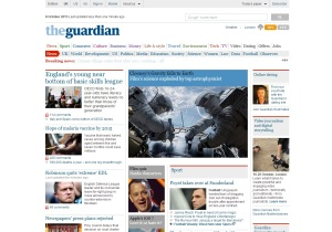 Guardian homepage without ads
